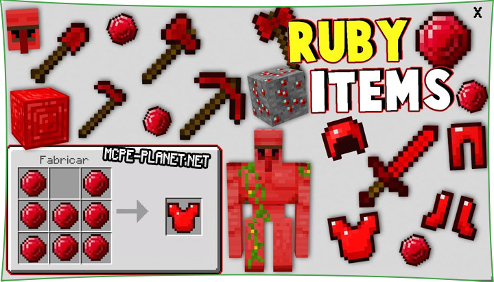 Ruby Items - мод на рубины 1.16, 1.15, 1.14, 1.13